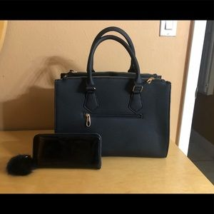 Black Purse/Tote with Matching Pompom Wallet